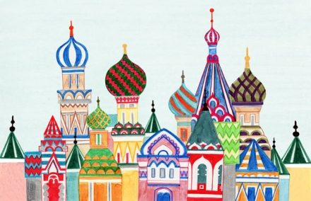 Colorful Illustration Art Print for Home or Nursery, Russian Architecture, Cathedral, Red Square Buildings, Middle East, Arabian Palaces by Anna See on The Bazaar